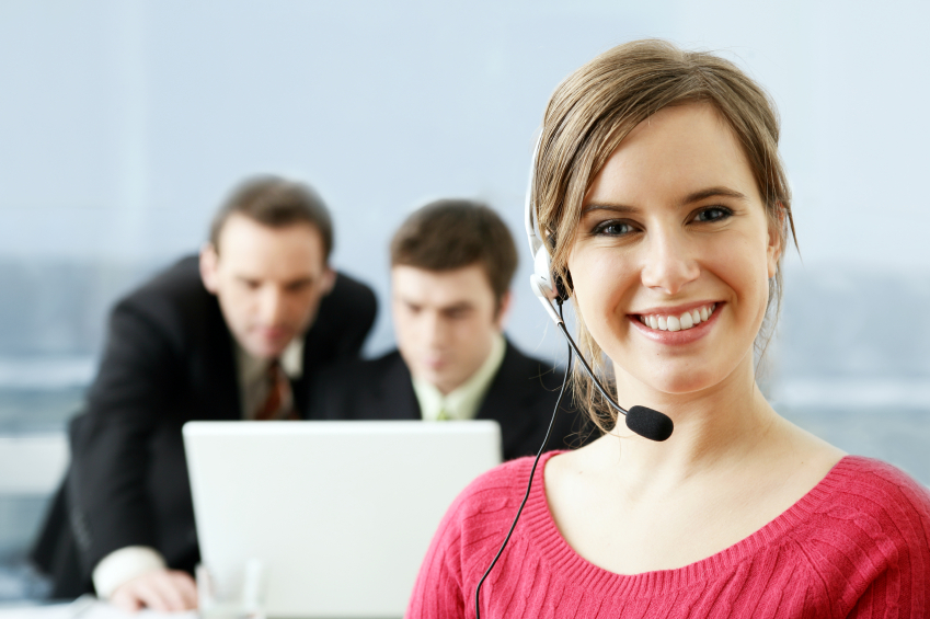 Business Woman & Colleagues Headset SMALL
