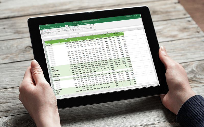 Image of an excel sheet on an ipad