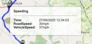 Pay as you Track telematics showing a vehicle speeding and therefore incuring fleet costs.
